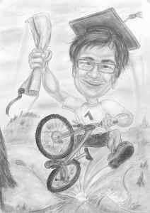 Mountainbiker-Karikatur in Bleistiftausführung