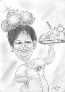 Frau Kaiser bringt das Frühstück - Bleistiftkarikatur