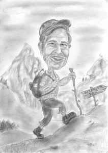 Bleistift-Karikatur eines Wanderers in den Bergen