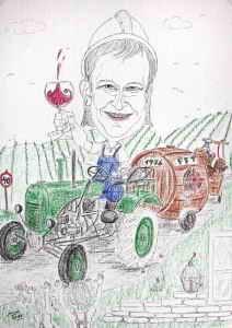 Vorstufe der Zeichnung - Winzer auf seinem geliebten Traktor - Farbkarikatur