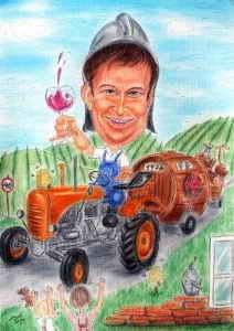 Winzer auf seinem geliebten Traktor - Farbkarikatur