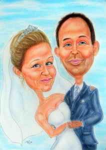 Farbkarikatur eines frisch vermählten Paares