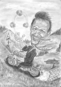 Steinmetz auf seiner Harley - Bleistift-Karikatur
