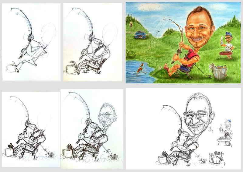Karikatur eines Anglers am Teichrand, mit ein paar Bildern der Entstehung - Karikaturen zeichnen lassen - Geschenkideen - Geburtstagswünsche