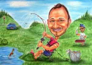 Am Teich zu angeln und dabei ein kühles Bier zu fangen, das ist doch schön - Farb-Karikatur eines Anglers