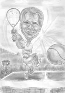 Tennisspieler beim Abschlag - Karikatur mit Bleistift gezeichnet