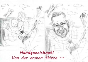 Fussball-Torwart - Skizzen einer Karikatur