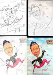 Schifahrer-Karikatur - Fotos zur Entstehung