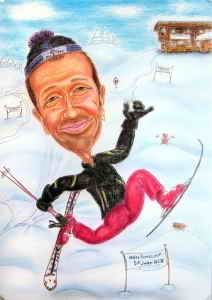 Schifahrer-Karikatur zeichnen lassen