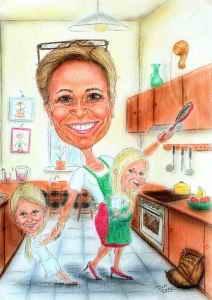 Frau Wirtin in der Küche mit den Enkerln - Karikatur in Farbe