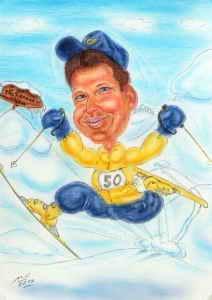 Schifahrer beim Sprung - Karikaturen zeichnen lassen