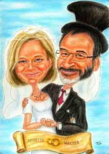 Hochzeitspaar in Farbe karikiert
