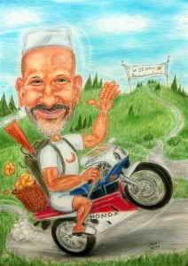 Der Bäcker liefert mit dem Motorrad seine Semmeln aus - Farbkarikatur