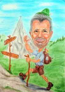 Wanderer-Karikatur in Farbe