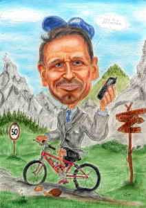 Radfahrer im Anzug mit Handy in der Hand - Karikatur in Farbe