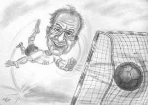 Oldie beim Handballspiel - Bleistift-Karikatur