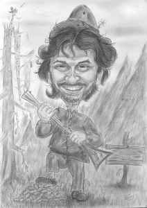 Ein Jäger steht im Wald - Berufskarikatur