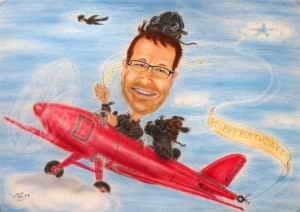 Farbkarikatur eines Oldtimer-Piloten