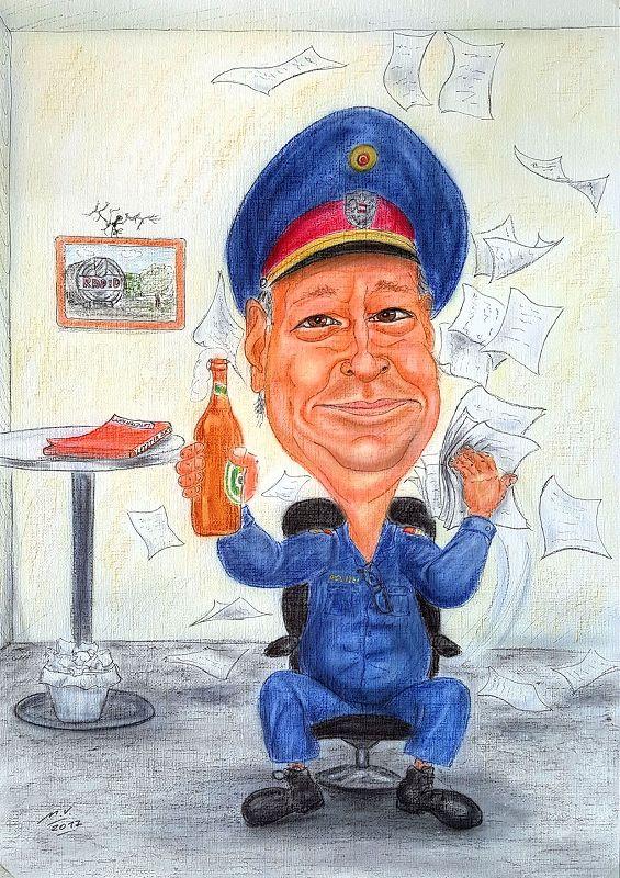 Polizist geht in Pension - Farbkarikatur
