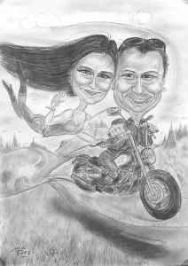 Schwarzweiss-Karkatur eines Biker-Paares