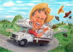 Gut behütet geht es mit dem Wohnmobil auf die Reise - Karikatur in Farbe