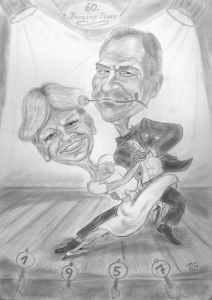Tanzpaar im Tangorhythmus - Karikaturen nach Fotos