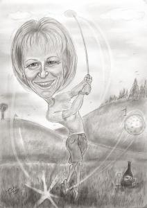 Lady-Golfspielerin - Karikaturen nach Fotos zeichnen lassen