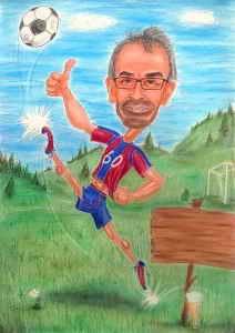 Fussball-Fan auf dem Rasen - Karikatur