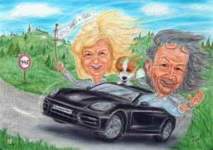 Paar im schwarzen Porsche - Karikatur in Farbe