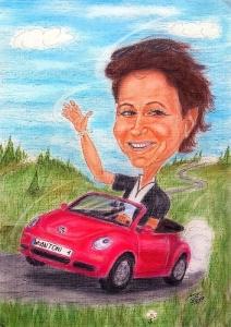 Junge Frau im VW-Beetle Cabrio - Farbkarikatur