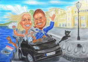 Junges Hochzeitspaar im Smart-Cabrio an der Küste - Karikatur in Farbe