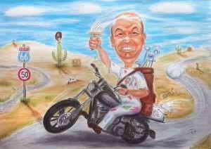Farbkarikatur eines Malers auf seinem Motorrad