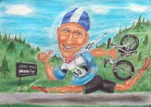 Triathlet beim Laufabschnitt - Karikatur in Farbe