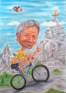 Radfahrer fährt den Berg hinauf - Karikatur in Farbe