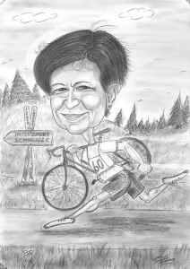 Lustige Bleistift-Karikatur zum Thema Sport - Laufen, Radfahren