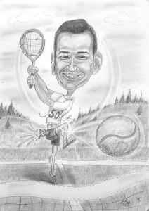 Tennisspieler-Karikatur