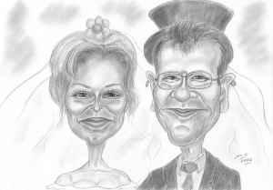 Hochzeitspaar-Karikatur als Bleistiftzeichnung