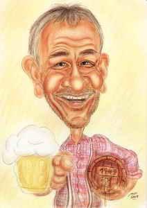 Karikatur als Geschenk zum Sechziger für einen Bier-Geniesser