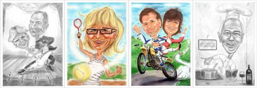 Karikaturen nach Fotos - 4 Bilder Vorschau