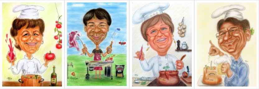 Karikaturen von Köchin und Koch als Geschenkidee in Form einer Karikatur für jeden Anlass