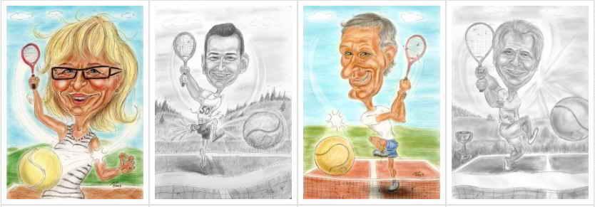 Tennis-Sport-Spiel-Spass-Bewegung-Karikaturen
