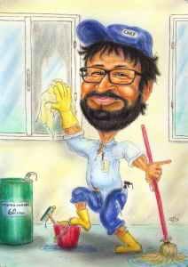 Fensterputzer-Karikatur, Geschenk zum Geburtstag