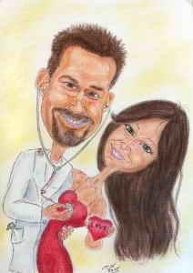 Paar-Karikatur - Herr Doktor hört das Herz seiner Herzallerliebsten ab
