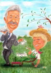 Paar-Karikatur, Butler serviert seiner Lady den Tee