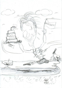 Die Skizze einer Karikatur ist der erste Schritt und geht mit dem Angebot an den Kunden
