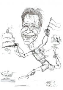 Entwurf der Karikatur - er ist der Schritt der Ausarbeitung