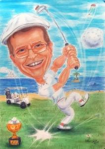 Golfer-Karikatur in Farbe - eine Geschenkidee zum 60. Geburtstag
