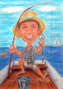Bild eines Anglers an seinem siebzigsten Geburtstag - Karikatur in Farbe