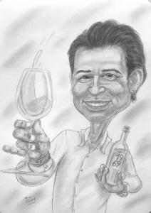 Bleistiftzeichnung eines glücklichen Fünfzigers - Karikaturen nach Fotos