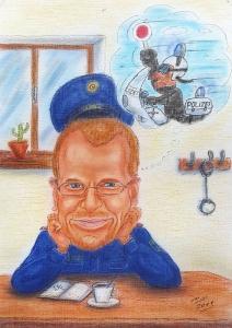 Polizist hängt seinem Traum nach - Farbkarikatur